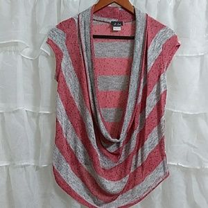 New DOTS Deep Plunge Short Sleeve Sweater L
